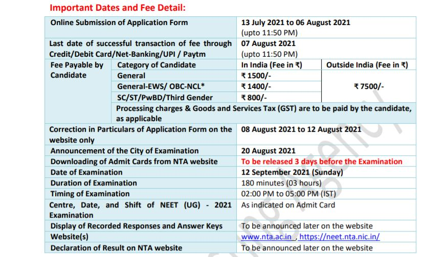 NEET 2021 Exam date and Registration date